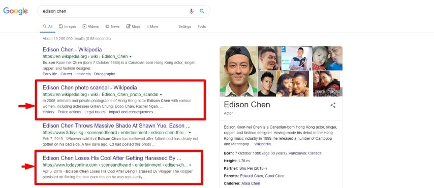 Edison Chen Search Results Showing Bad Reputation Without Reputation Management