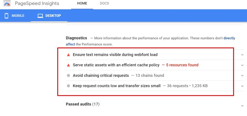 Tips from Google Pagespeed Insights