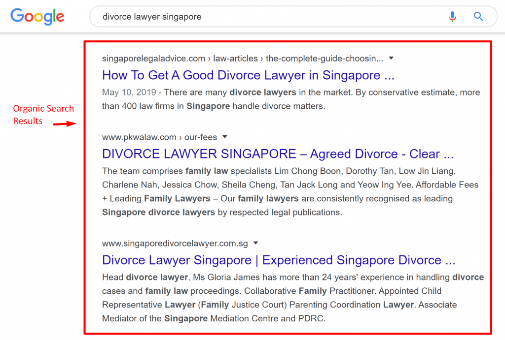 Example of an organic search result